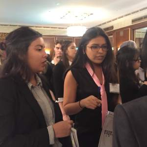 Delegations from Saudi Arabia and Belize discuss their working papers in an unmoderated caucus.
